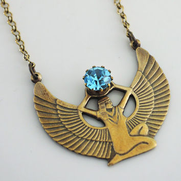 Vintage Necklace - Egyptian Jewelry - Aquamarine Necklace - Goddess Isis Necklace - Cleopatra Necklace - Brass jewelry - handmade jewelry