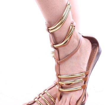 TAN STRAPPY FAUX LEATHER GLADIATOR SANDALS