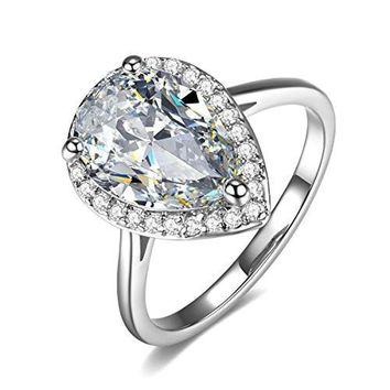 Halo 4 Carat Teardrop Pear Cut Cubic Zirconia CZ Engagement Wedding Ring(6,7,8)