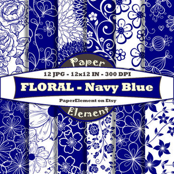 Navy Blue Floral Paper Pack for Scrapbooking - Digital Patterns - Printable Flower Backdrop - Instant Download