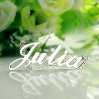 Freeshipping--Nameplate Necklace JULIA Style Silver Name Necklace Initial Necklace Personalized Jewelry