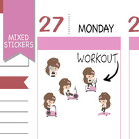 Mixed Fitness Stickers Workout Sticker Emely Stickers Cute Stickers Erin Condren Functional Stickers Kawaii Stickers NR1573