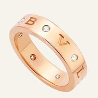 Bvlgari Fashion New Letter Diamond Personality Ring Jewelry Rose Gold