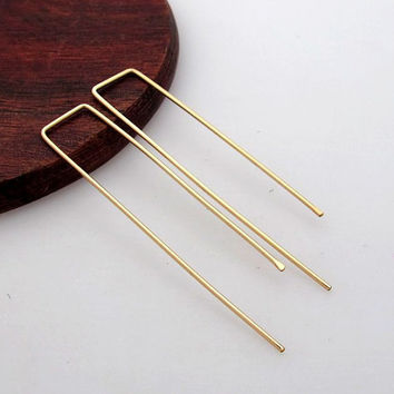 Gold Threader Earrings - Modern Earrings - Rectangular Earrings - Staple earrings. Modern Jewelry - Unique Everyday Earrings - Wire Earrings