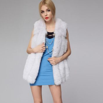2017 White/Pink New Fashion Female Faux Fox Fur Vest Women Medium Long Luxury Fake Fur Vests Winter Furry Mex Vest Furs A003