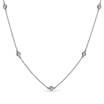 CZ By The Yard Tin Cup Chain Layer Necklace 14K Gold Plated Sterling