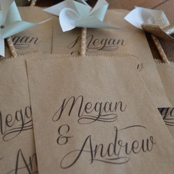 Wedding Favor Bags, Wedding Favors, Candy Buffet Bags, Candy Bar Bags, Personalized Wedding Favor Bags, Custom Treat Bags, Pkg of 25