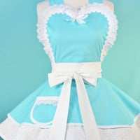 Wedding Day Apron in Tiffany Blue  Made to Order by dotsdiner