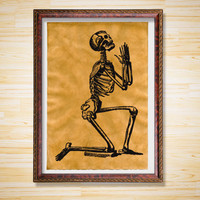 Praying Skeleton poster Anatomy decor Macabre print