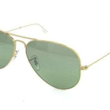 LOMFN Cheap RAY BAN RB3025 001/M4 Aviator Large Metal Green Polarized Lens Retail $200 outlet