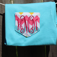 Baby, Toddler, Kid's Aqua with Multi Color Chevron Monogrammed Pocket T-shirt