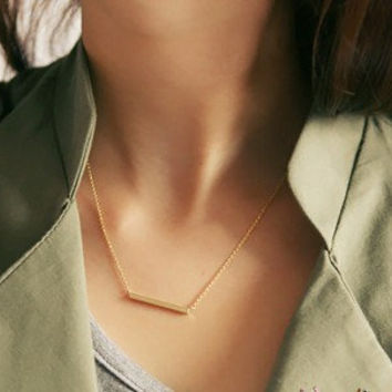 simple style gold  titanium steel pendant necklace women collarbone necklace short necklace XL108