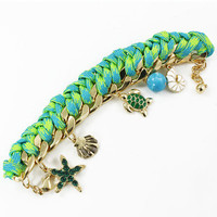 Gold Chain Ocean Charm Cord Bracelet in Green