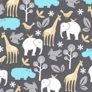 Zoo Animals in Aqua Fabric by the Yard | 100% Cotton
