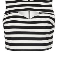 Petite Stripe Cut Out Crop Top