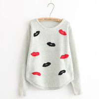 Gray Lips Embroidered Sweater