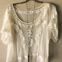 Anthropologie sheer high low mesh embroidery gypsy romantic top
