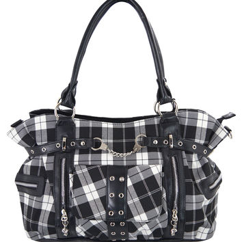Black White Tartan Plaid Rockabilly Purse with Handcuff Skull Charm
