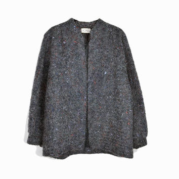 Vintage 80s Shaggy Gray Sweater Coat / Boucle Jacket - women's medium