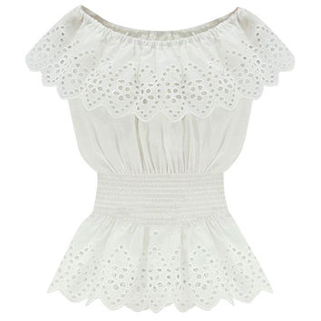 White Off-Shoulder Lace Ruffled Peplum Blouse