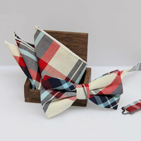 2016 New Fashion Men's Cotton Pocket Square Bow Tie Set Casual Plaid Men's Bowties and Handkerchieves Set For Wedding Party