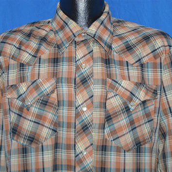 80s H Bar C Brown Plaid Pearl Snap Shirt Large