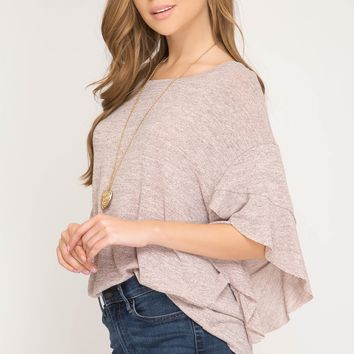 Women's Knit Top with 3/4 Ruffle Sleeves