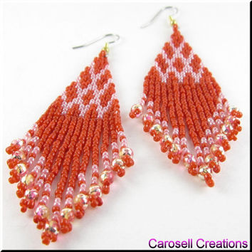 Native American Style Beadwork Dangle Seed Bead  Earrings in Pink and Red