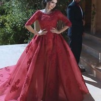Burgundy Prom Dress Half Sleeves Formal Occasion Dress with Appliques Lace