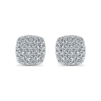 14K White Gold 1/4cttw Cushion Shaped Pave Diamond Cluster Stud Earrings