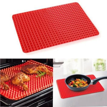 Hot 1 Piece Red Pyramid Bakeware Pan Nonstick Silicone Baking Mats Pads Moulds Cooking Mat Oven Baking Tray Sheet Kitchen Tools