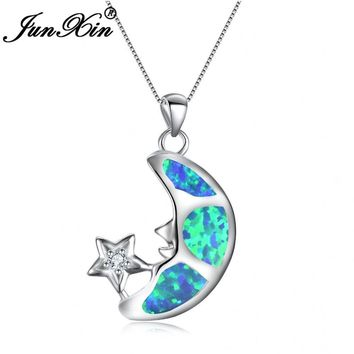 Moon Star Pendant White Blue Fire Opal Long Moon Necklaces 925 Sterling Silver Filled