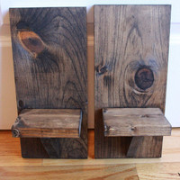 WOOD SCONCE Pair of Candleholders, Rustic Sconces, Wood Sconces, Farmhouse, Barn Style