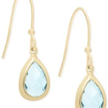 Victoria Townsend Blue Topaz Bezel Drop Earrings in 18k Gold over Sterling Silver (4 ct. t.w.) | macys.com