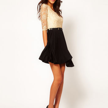 Paprika Metallic Lace Belted Skater Dress at asos.com