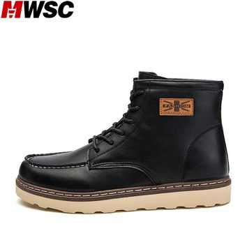 MWSC 2017 Winter New Arrival Men's Fashion Working Boots Male Lace Up Martin Ankle Boots Fashion Casual Shoes