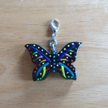 Folk Art Butterfly Polymer Clay Charm, Clip On, Pendant, Zipper pull in Black and Rainbow Colors for bag, purse, tote