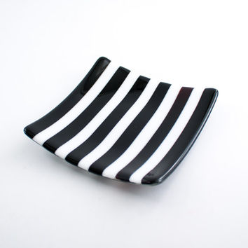 Fused Glass Plate, Decorative Dish, Pillar Candle Holder, Black and White Home Decor, Stripe Design, Square Shape, Unique Gifts for Men