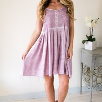 Mad Love Lavender Lace Detailed Dress