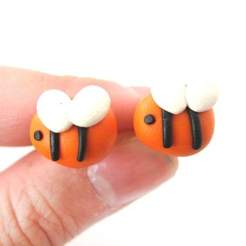 Small Bee Shaped Animal Themed Polymer Clay Stud Earrings | DOTOLY