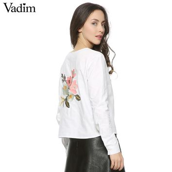 Women back sweet floral embroidery full cotton blouse hem bow O-neck long sleeve shirts ladies casual brand tops blusas LT1257