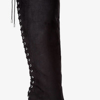 Faux Suede Lace Up Knee High Heeled Boot from EXPRESS