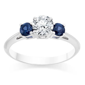 Vintage Style Certified Diamond Ring TCW 0.85 2 Blue Sapphires 14K White Gold  Engagement Wedding Other metals and stone options available
