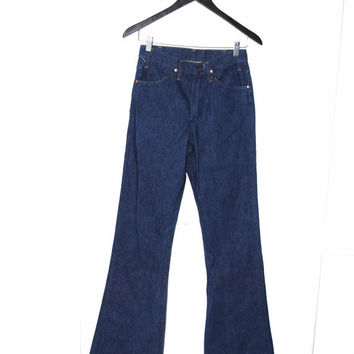 70s vintage bell bottom jeans 1970s vtg HIGH WAISTED boho dark denim flares RETRO dark wash hippie bell bottoms size 25 26