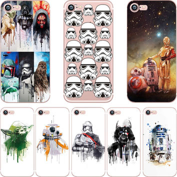 Star Wars R2D2 BB8 Coffee Stormtrooper Darth Vader clear soft silicon TPU case cover for Apple iPhone 7 7plus 5S SE 6S 6plus