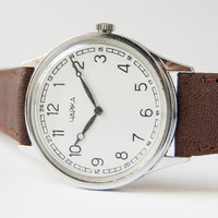 Women's wrist watch Chaika - Soviet watch leather - silver, brown watch