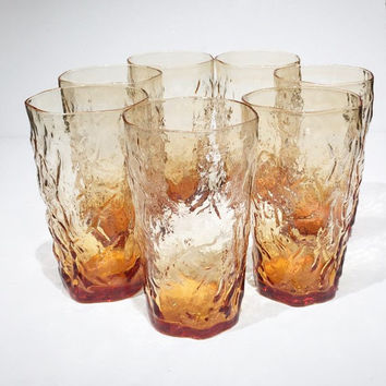 Vintage 1960s Morgantown Driftwood Set of 7 Amber Crinkle Seneca Glass Tumblers, Tall Orange Amber Drinking Glasses, Iced Tea Water Highball