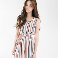 Striped Shirred Waist Midaxi Dress | mixxmix