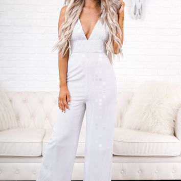 Regina Polka Dot Jumpsuit (White/Black)