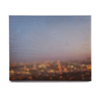 "Ann Barnes ""City Of Angels"" Blue Gold Abstract Travel Photography Digital Birchwood Wall Art"